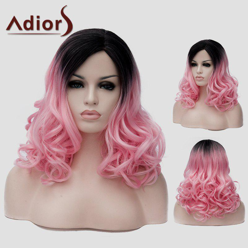 Charming Long Synthetic Black Pink Gradient Shaggy Wavy Side Bang Women's Wig - BLACK/PINK