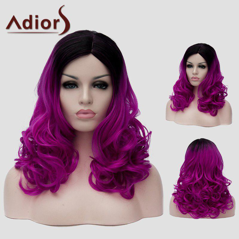 Shaggy Wavy Synthetic Fashion Black Purple Gradient Capless Long Universal Wig For Women - BLACK/PURPLE