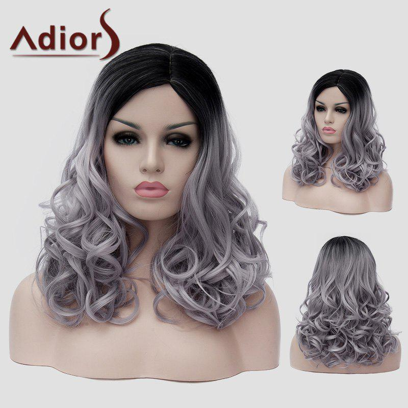 Shaggy Wavy Synthetic Trendy Long Black Gray Gradient Capless Universal Wig For Women