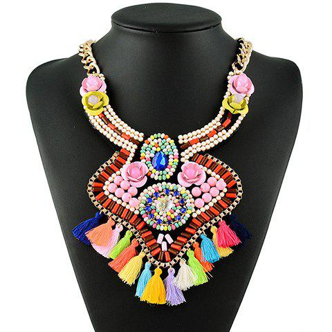 Graceful Exaggerated Floral Water Drop Tassel Necklace For Women