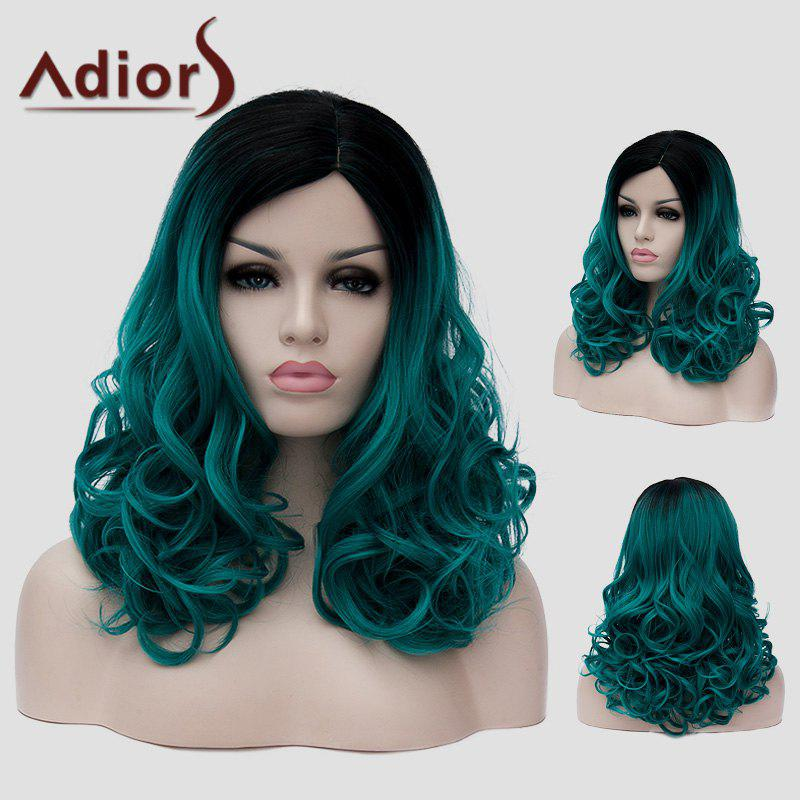 Stylish Black Ombre Blackish Green Capless Fluffy Wavy Synthetic Long Women's Universal Wig - OMBRE