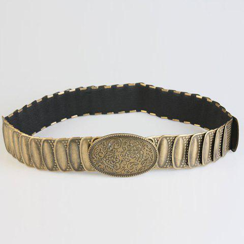 Chic Retro Elliptical Buckle and Metal Embellished Women's Elastic Waistband chic glitter powder and openwork metal embellished elastic waistband for women