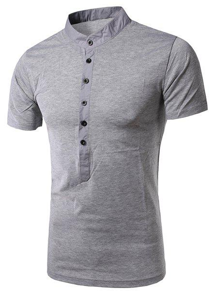 Simple Stand Collar Single Breasted Design Short Sleeve Men's T-Shirt - LIGHT GRAY XL