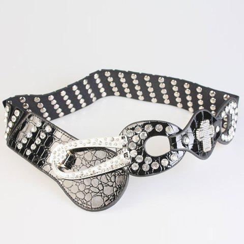 Chic Rhinestone PU Cross Shape Decorated Women's Elastic Waistband
