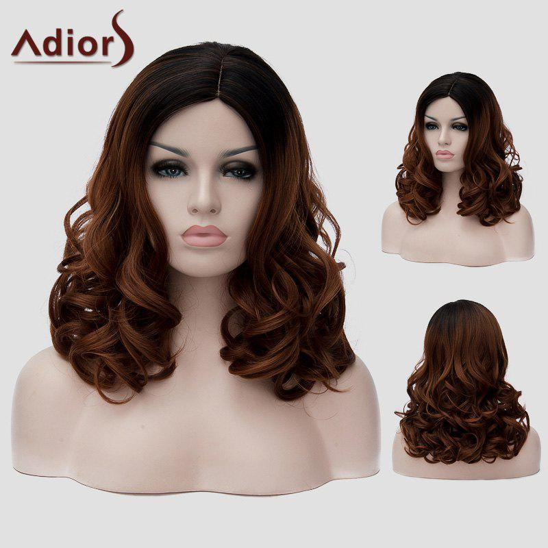 Fluffy Long Wavy Synthetic Stylish Black Ombre Dark Brown Women's Capless Universal Wig - BLACK/BROWN