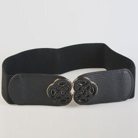 Chic Ethnic Style Hollow Out Buckle Decorated Women's Elastic Waistband - BLACK