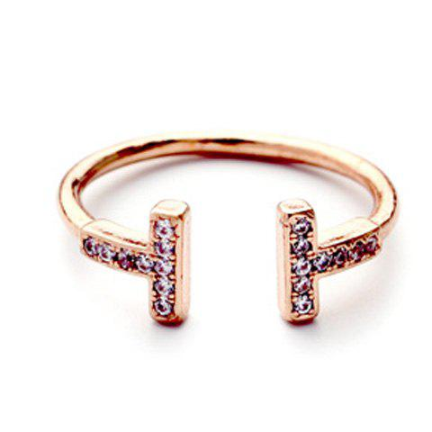 Vintage Rhinestoned T Shape Cuff Ring For Women - ROSE GOLD ONE-SIZE