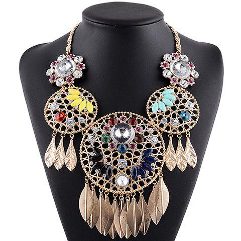 Charming Rhinestoned Faux Crystal Leaf Pendant Necklace For Women - BLACK