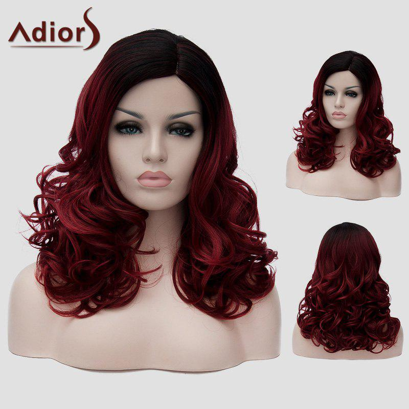 Fluffy Long Wavy Synthetic Nobby Black Ombre Wine Red Capless Universal Wig For Women - RED/BLACK