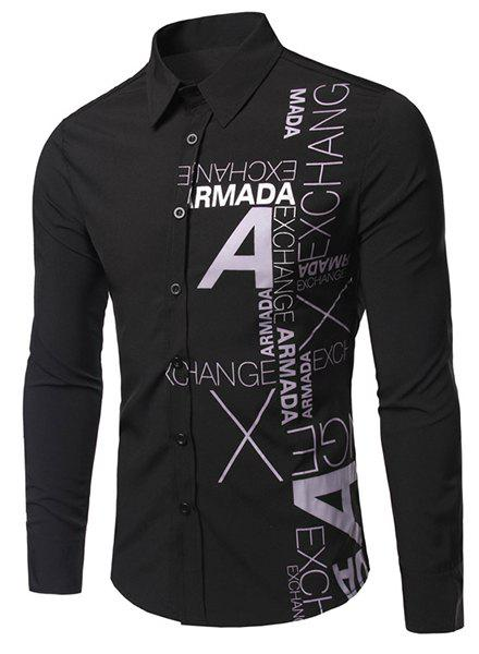 Turn-Down Collar Letters Pattern Print Long Sleeve Men's Shirt - BLACK XL