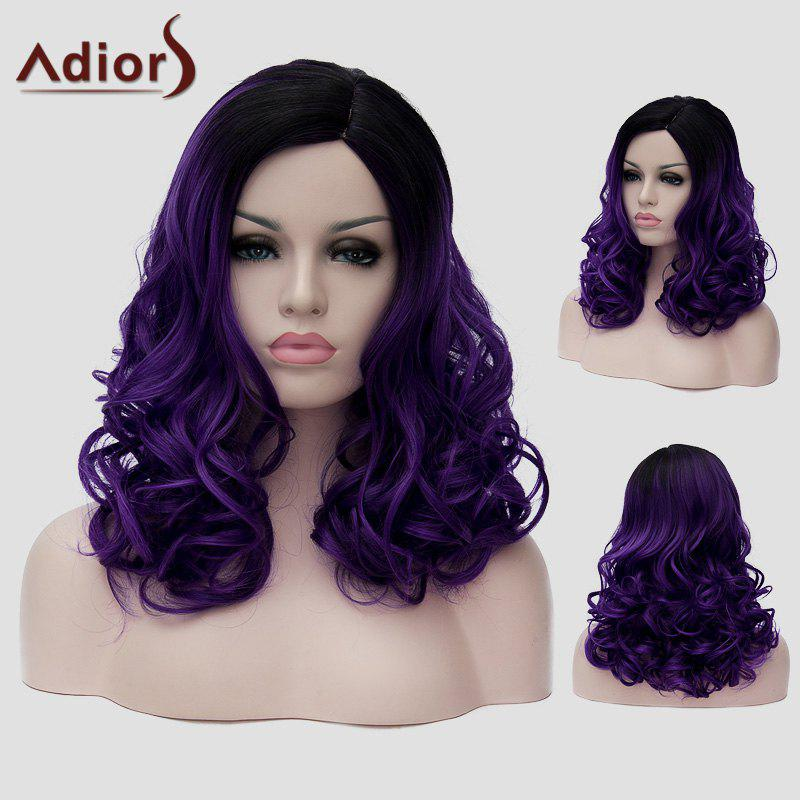 Trendy Long Black Ombre Dark Purple Capless Fluffy Wavy Synthetic Universal Wig For Women - BLACK/PURPLE