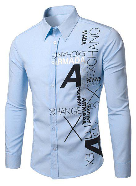 Turn-Down Collar Letters Pattern Print Long Sleeve Men's Shirt - LIGHT BLUE M