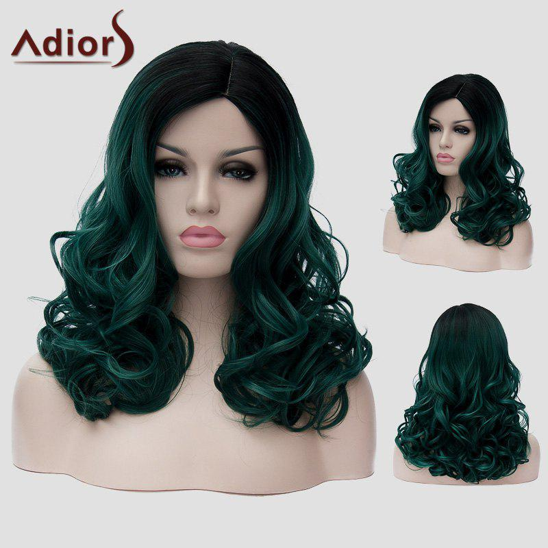 Fluffy Wavy Capless Fashion Black Ombre Dark Green Synthetic Long Universal Wig For Women - BLACK/GREEN