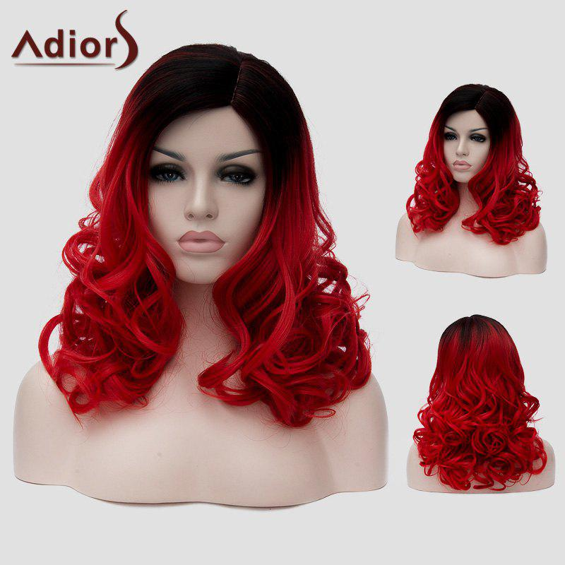 Attractive Black Red Gradient Capless Long Fluffy Wavy Women's Synthetic Universal Wig - RED/BLACK