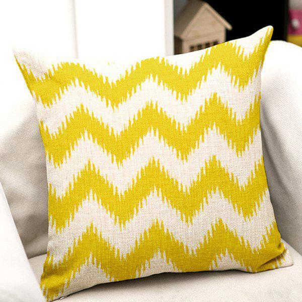 High Quality Yellow Stripe Pattern Square Shape Pillow Case(Without Pillow Inner) - COLORMIX