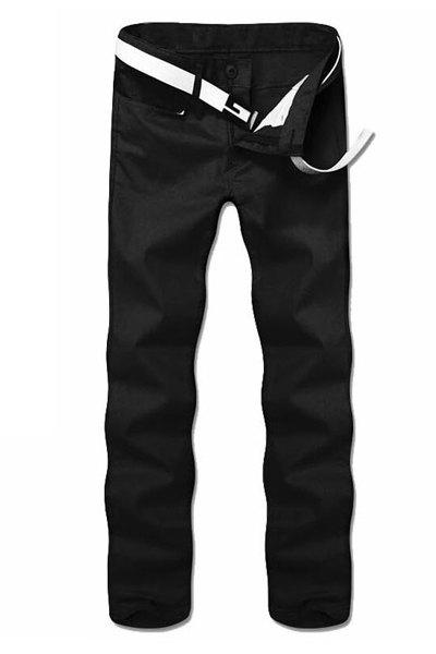 Casual Straight Leg Solid Color Zipper Fly Men's Pants - BLACK 36