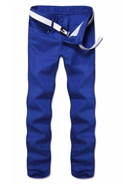 Casual Straight Leg Solid Color Zipper Fly Men's Pants - BLUE 36