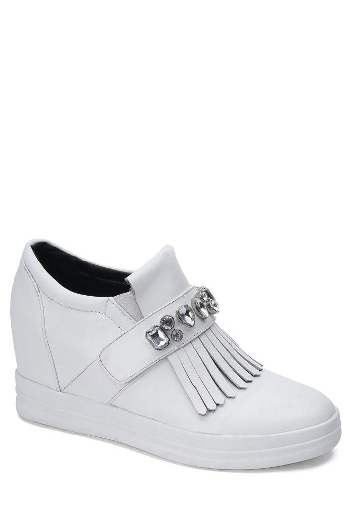 Casual Rhinestone and Fringe Design Wedge Shoes For Women - WHITE 38