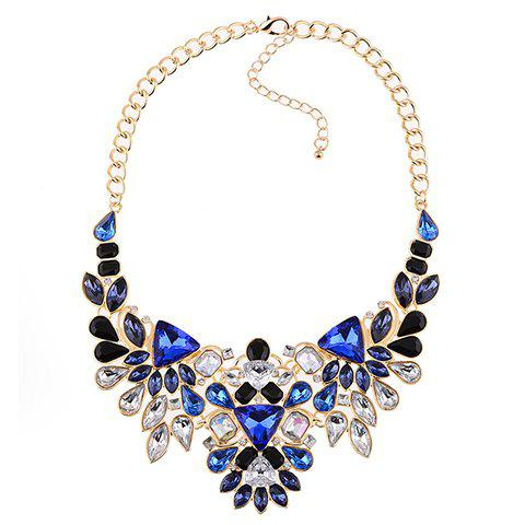 Faux Crystal Geometric Water Drop Necklace - BLUE/GOLDEN