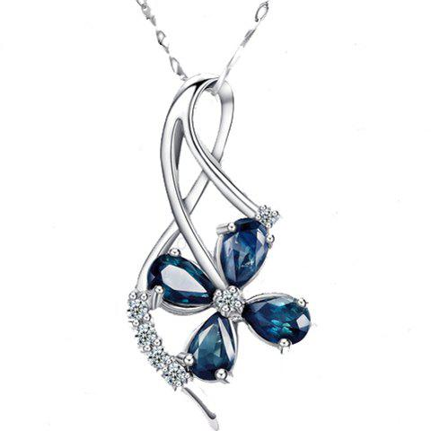 Chic Rhinestone Clover Pendant Necklace For Women - SILVER
