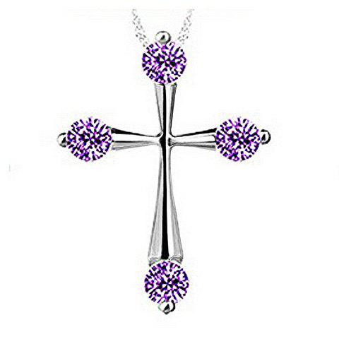 Cross Rhinestone Necklace - PURPLE