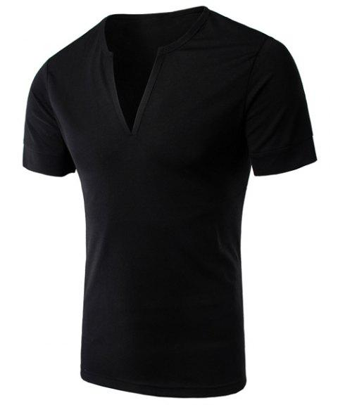 Simple V-Neck Solid Color Short Sleeve Men's T-Shirt - BLACK 2XL