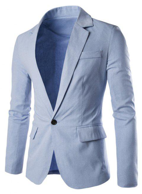 One Button Single-Breasted Lapel Long Sleeves Men's Solid Color Blazer - LIGHT BLUE XL
