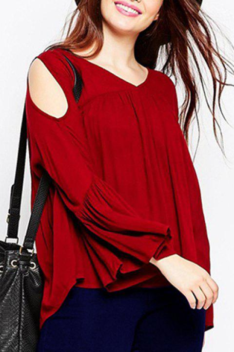 Sweet Women's V-Neck Red Long Sleeve Blouse - RED 2XL