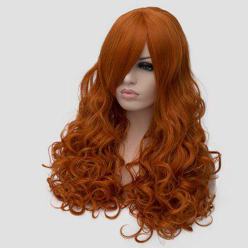 Stylish Inclined Bang Orange Fluffy Wavy Long Synthetic Universal Cosplay Wig For Women - ORANGE
