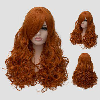 Stylish Inclined Bang Orange Fluffy Wavy Long Synthetic Universal Cosplay Wig For Women