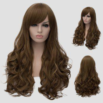 Fluffy Wavy Long Flax Cyan Synthetic Elegant Side Bang Universal Women's Cosplay Wig