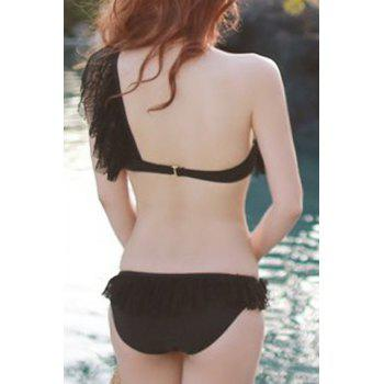 Women's Sexy One Shoulder Pure Color Lace Flounce Bikini - BLACK BLACK