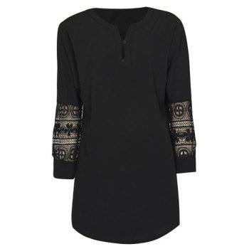 Trendy Women's V-Neck 3/4 Sleeve Crochet Lace Blouse