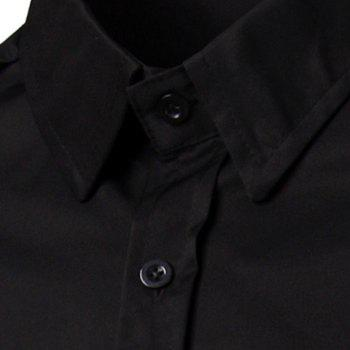 Floral Long Sleeves Spliced Slimming Color Block Men's Turn-down Collar Shirt - BLACK M