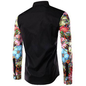 Floral Long Sleeves Spliced Slimming Color Block Men's Turn-down Collar Shirt - BLACK XL