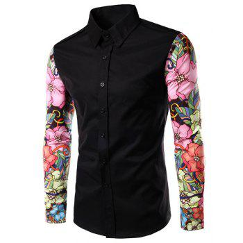 Floral Long Sleeves Spliced Slimming Color Block Men's Turn-down Collar Shirt