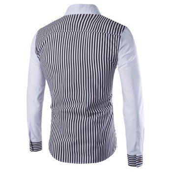 PU Leather Spliced One Pocket Slimming Shirt Collar Long Sleeves Men's Striped Shirt - WHITE/BLACK L