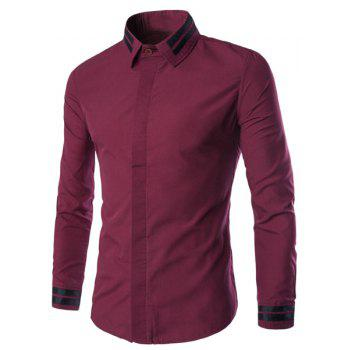 Color Block Stripes Spliced Plain Front Shirt Collar Long Sleeves Men's Slim Fit Shirt