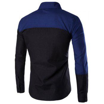 Casual Shirt Collar Color Lump Splicing Slimming Men's Long Sleeves Shirt - BLUE/BLACK L