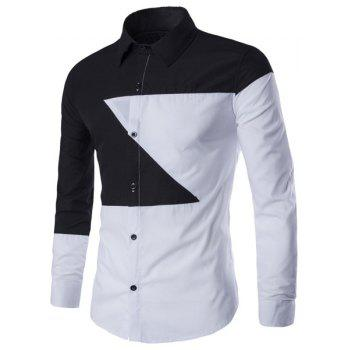 Casual Shirt Collar Color Lump Splicing Slimming Men's Long Sleeves Shirt