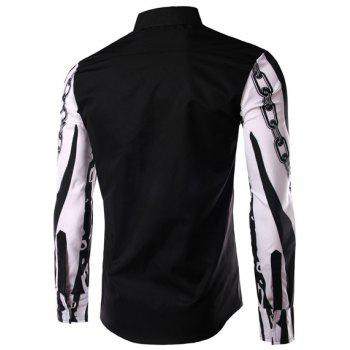 Color Block Chain Print Slimming Shirt Collar Long Sleeves Men's Shirt - BLACK M