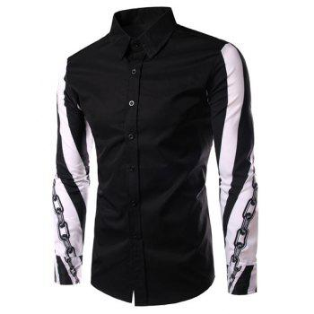 Color Block Chain Print Slimming Shirt Collar Long Sleeves Men's Shirt