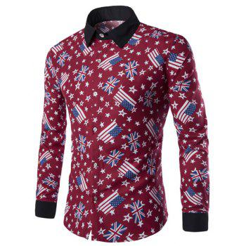 Slimming Shirt Collar American Flag and Star Print Long Sleeves Men's Hit Color Shirt