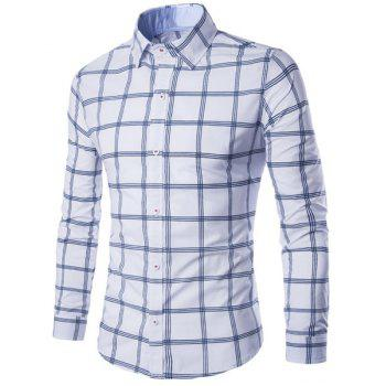 Hot Sale Turn-down Collar Exquisite Plaid Print Men's Long Sleeves Shirt