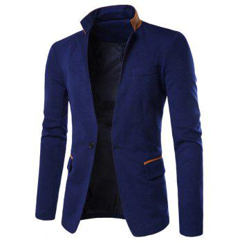 Hit Color Spliced Back Slit Stand Collar Long Sleeves Men's Single-Breasted Blazer