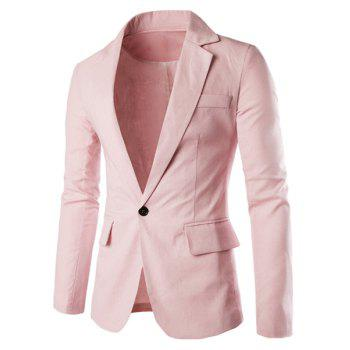 One Button Single-Breasted Lapel Long Sleeves Men's Solid Color Blazer