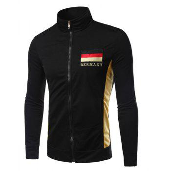 New Style Stand Collar Flag of Germany Embroidered Color Spliced Men's Long Sleeves Sweatshirt