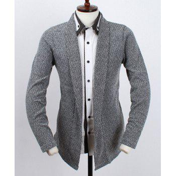 Loose Fit Turn-down Collar Geometric Pattern Long Sleeves Men's Solid Color Cardigan