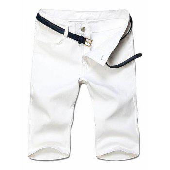 Slimming Solid Color Straight Leg Zipper Fly Men's Shorts - WHITE WHITE