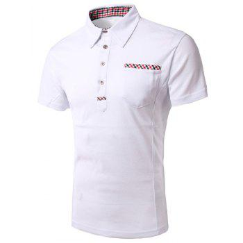Modish Turn-Down Collar Plaid Print Splicing Short Sleeve Men's Polo Shirt